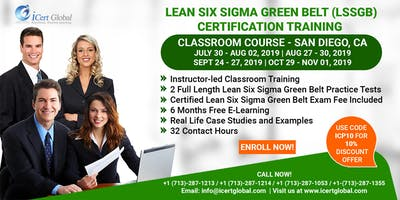Lean Six Sigma Green Belt Certification Training Course in San Diego, CA, USA.