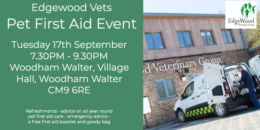 Edgewood Vets Pet first aid evening Tickets, Tue 17 Sep 2019 at 19