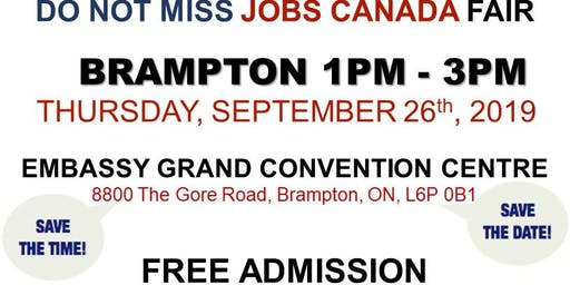 Free: Brampton Job Fair - September 26th, 2019