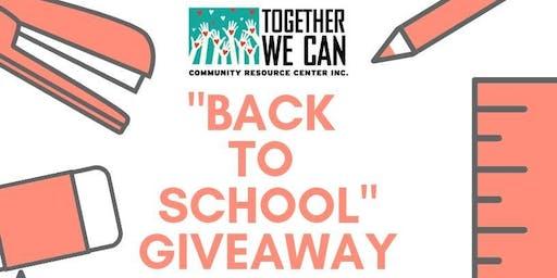 """FREE TWC  """"Back To School"""" Giveaway/Distribución De Útiles Escolares"""