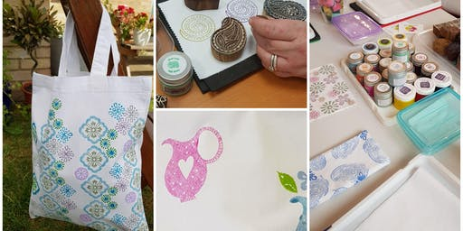 The Handmade and Creative Market -Indian Hand Block Printing Adult Mini Workshop - Tote bag for Life
