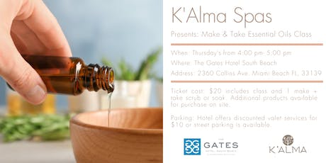 K'Alma Spas: Essential Oils Make & Take Class tickets