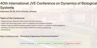 40th International JVE Conference on Dynamics of Biological Systems