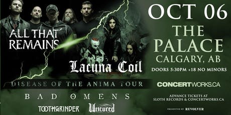 LACUNA COIL AND ALL THAT REMAINS 'DISEASE OF THE ANIMA' CO-HEADLINE TOUR tickets