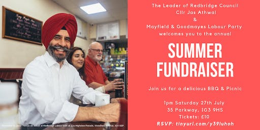 Mayfield & Goodmayes Labour Party Summer Fundraiser