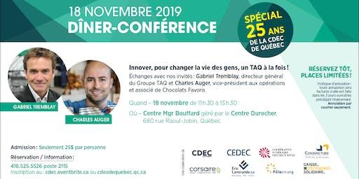 """Dîner- Conférence """"Spécial 25 ans de la CDEC de Québec"""""""