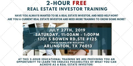 July 27th: 2-Hour FREE Real Estate Investor Training tickets