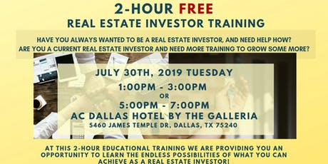 July 30th: 2-Hour FREE Real Estate Investor Training tickets