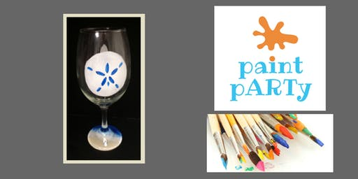 Paint'N'Sip Two Wine Glasses - Sand Dollar - $35 pp