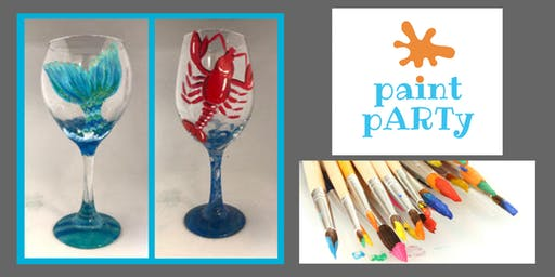 All Ages Paint Party on Two Wine Glasses - Lobstah & Mermaid's Tail - $35pp