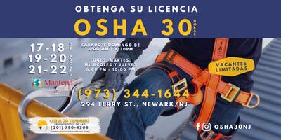 CLASE DE OSHA 30 EN ESPANOL - $ 350