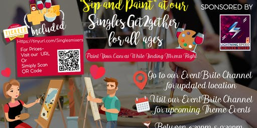 """Sip & Paint at our Singles Get2gether"": Share your artistic talent with other singles."