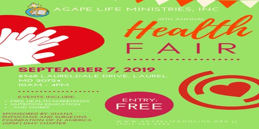 10th Annual Health Fair of Agape Life Ministries, Inc.