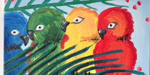 "Paint and Sip Art session 2 for 1 offer  ""Parrots"" at XXXX Brewery"