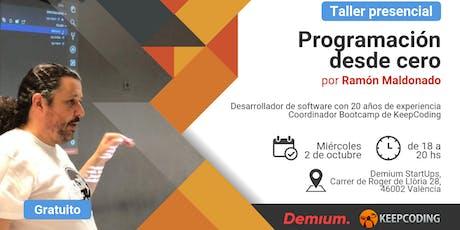 Taller presencial Programación desde Cero - Demium&KeepCoding entradas