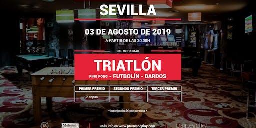 Triatlon de ping pong, futbolín y dardos en SEVILLA C.C. METROMAR