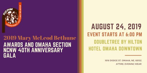MMB 2019 Mary McLeod Bethune Awards and Omaha Section NCNW 40th Anniversary Gala