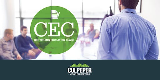 Culpeper Wood Preservers Continuing Education Chesapeake Beach, MD