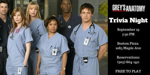 Grey's Anatomy Trivia Night - Milton