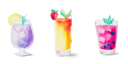 SUMMER BREEZE: A Summer Cocktail Watercolor Workshop with Color Snacks