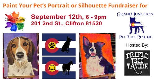 Paint Your Pet or CO Flag Pet Silhouette Fundraiser GJ Pit Bull Rescue