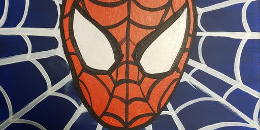 Spider Man- Family Paint Night at Kidz N Art (Level 2- Stencils Provided)