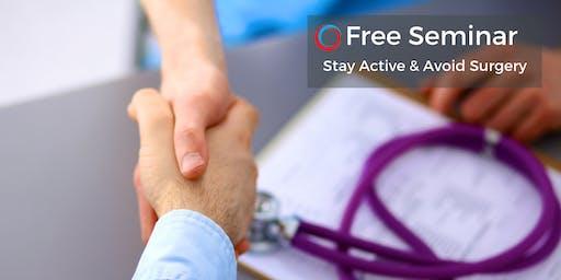 FREE Seminar: Avoid Surgery & Reduce Pain Aug 22