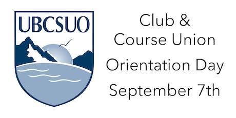 UBCSUO Club/Course Union Orientation - Term 1 - 2019-20 tickets