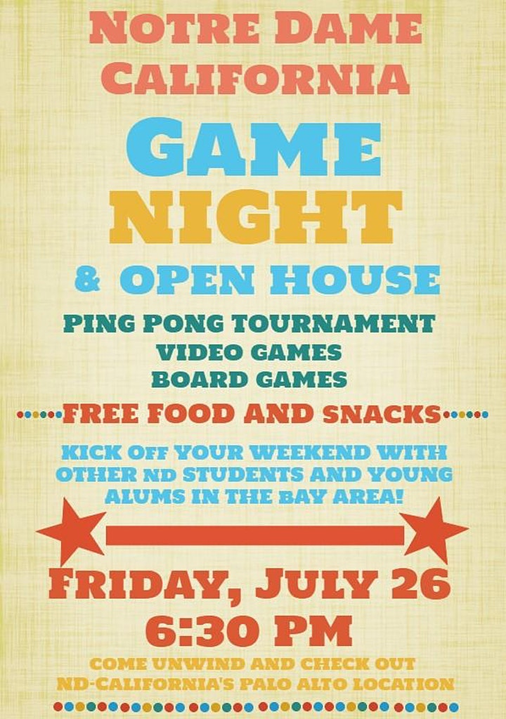 Notre Dame-California Game Night and Open House image
