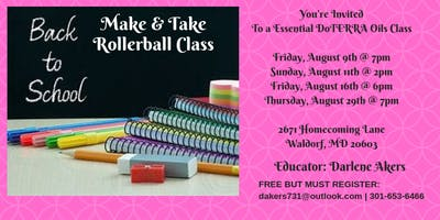 Back To School DoTerra Essential Oils Make & Take Class