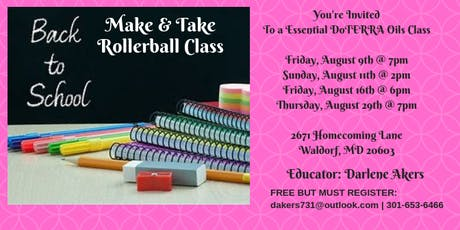 Back To School DoTerra Essential Oils Make & Take Class tickets