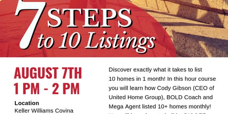 7 Steps To 10 Listings In 1 Month tickets