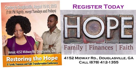 Restoring the Hope: A Life Transformation Conference for Douglasville, GA tickets