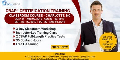 CBAP- (Certified Business Analysis Professional™) Certification Training Course in Charlotte, NC, USA.