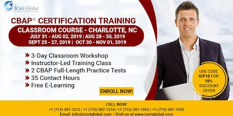 CBAP- (Certified Business Analysis Professional™) Certification Training Course in Charlotte, NC, USA. tickets