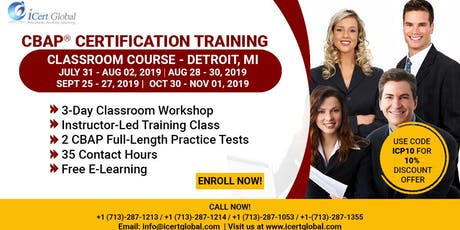CBAP- (Certified Business Analysis Professional™) Certification Training Course in Detroit, MI, USA. tickets