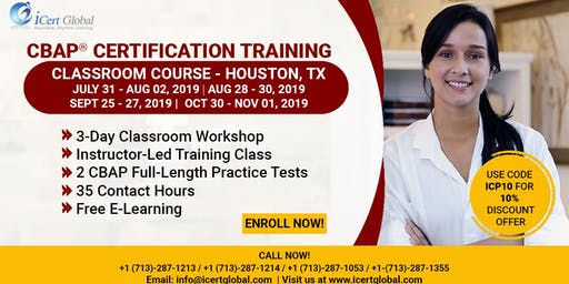CBAP- (Certified Business Analysis Professional™) Certification Training Course in Houston, TX, USA.