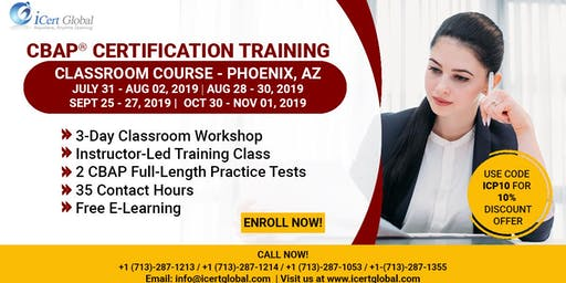 CBAP- (Certified Business Analysis Professional™) Certification Training Course in Phoenix, AZ, USA.