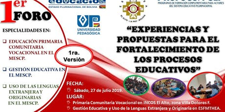1er. FORO EDUCATIVO DE ESPECIALIDADES DE PRIMARIA COMUNITARIA VOCACIONAL, tickets