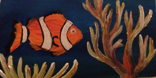 "Paint and Sip Art session 2 for 1 offer  ""Clown Fish""  Southbank"