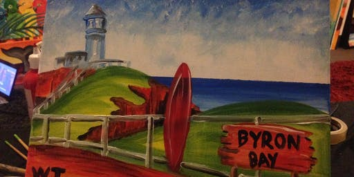 "Paint and Sip Art session 2 for 1 offer  ""Byron Bay""  Southbank"