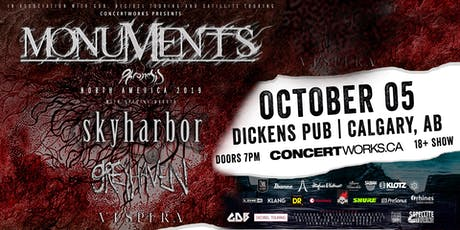 Monuments with Skyharbor, Greyhaven & Vespera tickets