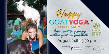 Happy Goat Yoga-For Charity at Farmers Branch Market: Sunset Session tickets