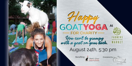 Happy Goat Yoga-For Charity at Farmers Branch Market: Sunset Session