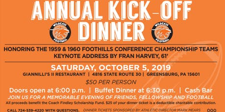 2019 Latrobe Wildcat Football Association Kick-Off Dinner tickets