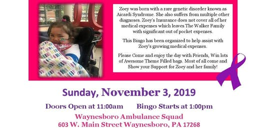 8th Annual Thirty-One Bingo Benefit for Zoey Walker