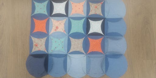 Denim Circles Quilt with Courtenay