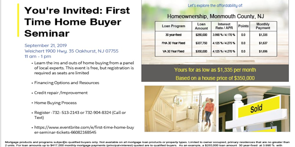 First Time Home Buyer Seminar Tickets, Sat, Sep 21, 2019 at