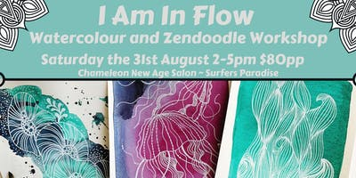 I Am In Flow Watercolour nd Zendoodle Workshop