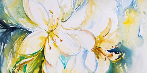 Yellow Flowers Adults Watercolor Workshop by Expressive Brush Art Studio